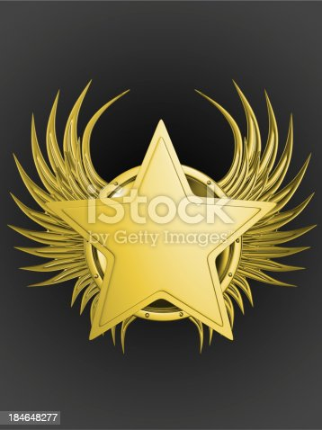 istock 3d golden emblem with a ribbon on the dark background 184648277