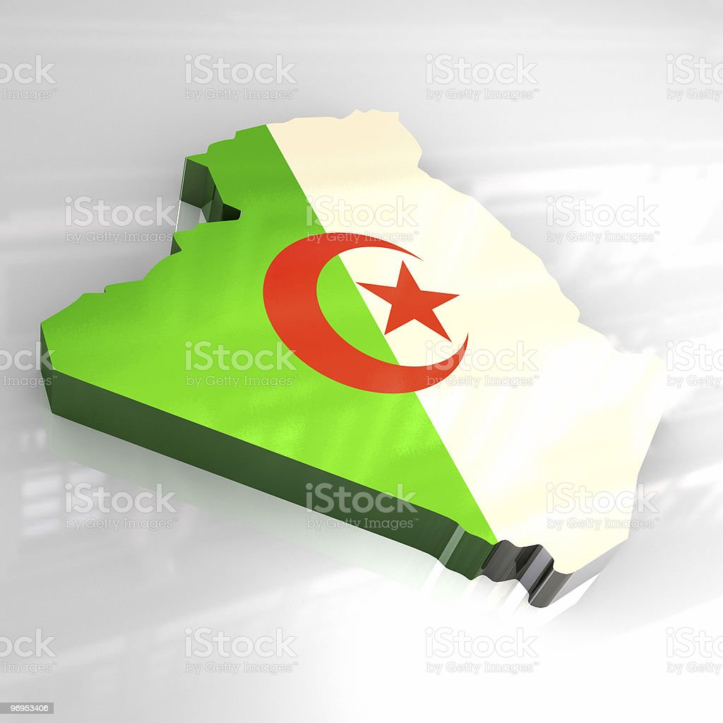 3d golden map of algeria royalty-free stock photo