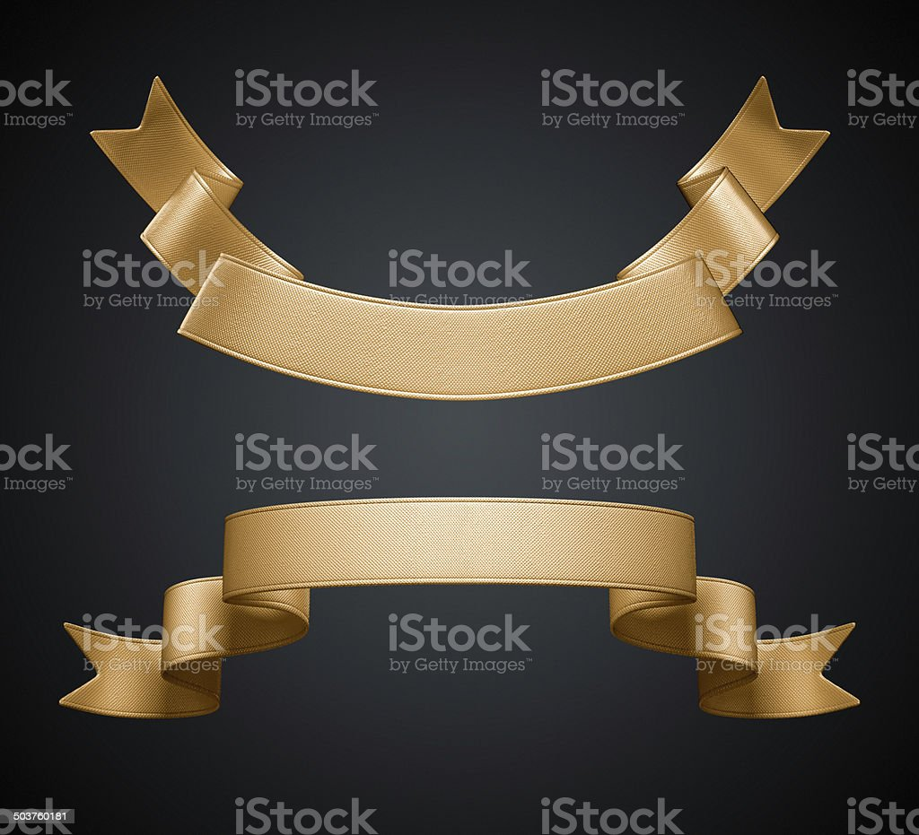 3d golden silver metallic ribbon tag Isolated on black background, stock photo