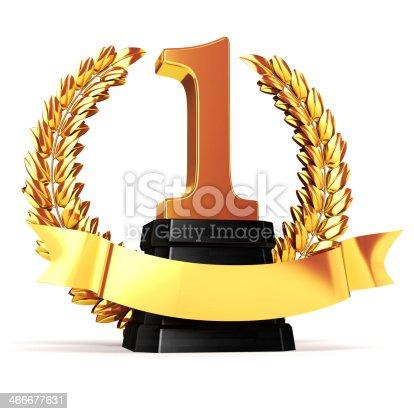 istock 3d golden trophy and laurel 466677631