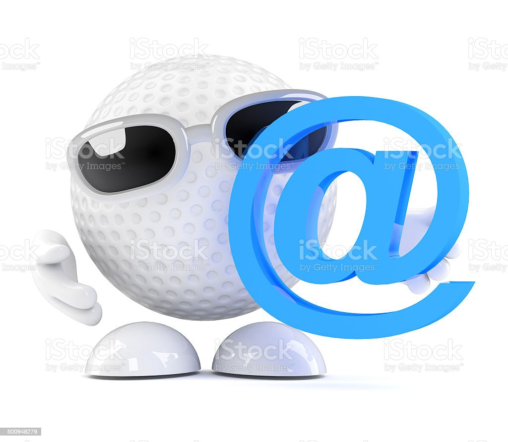 3d Golf Ball With Email Address Symbol Stock Photo More Pictures