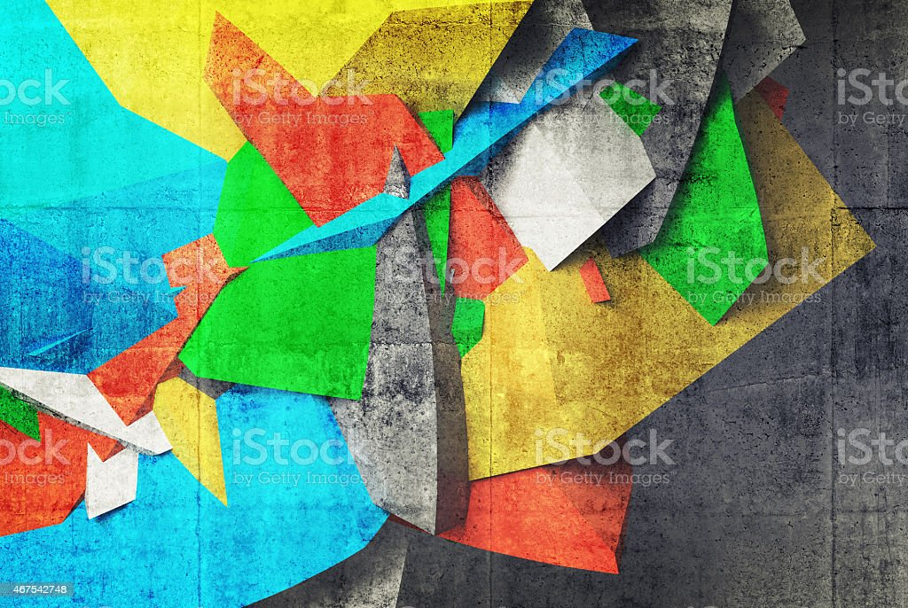 3d graffiti fragment on the wall of concrete parking interior stock photo