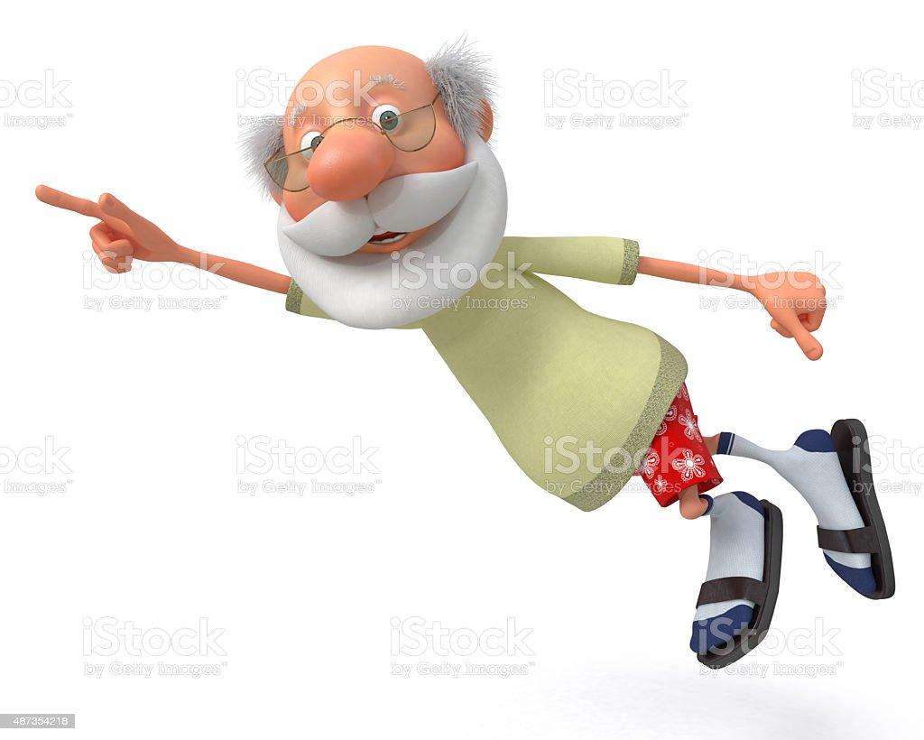 3d grandfather pensioner stock photo