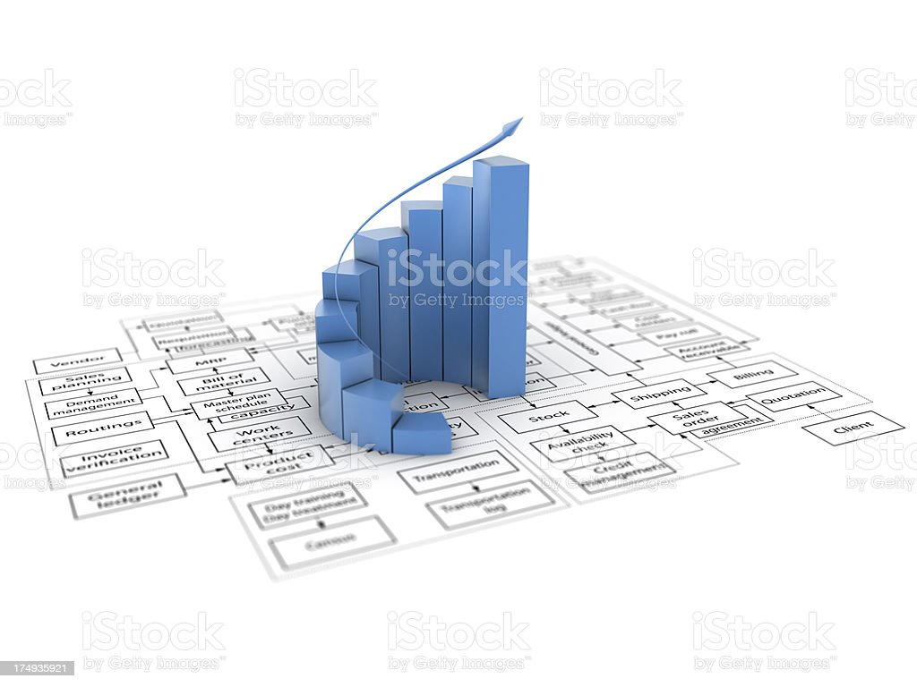 3d graph and flowchart royalty-free stock photo