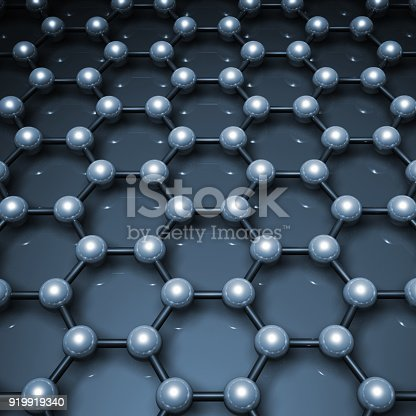 istock 3d graphene structure, blue molecular model 919919340