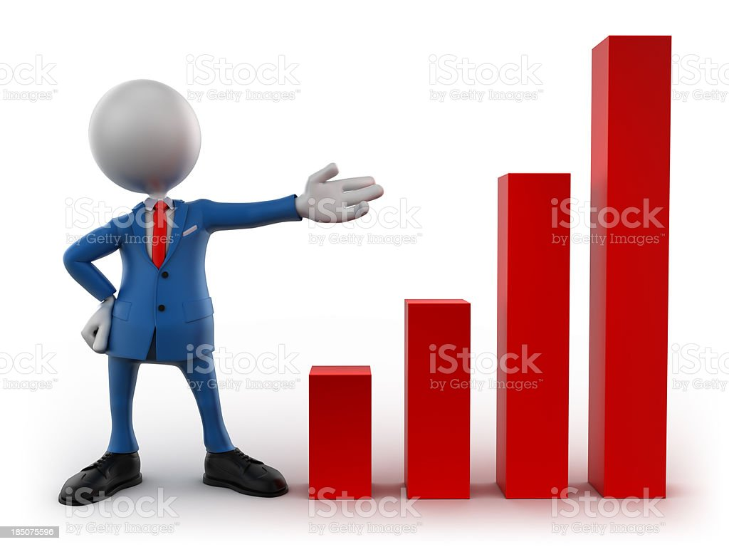 3d graphic of business chart with clipping path royalty-free stock photo