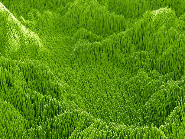 3d green abstract background, wavy artificial landscape - hair line surface stock photos and pictures