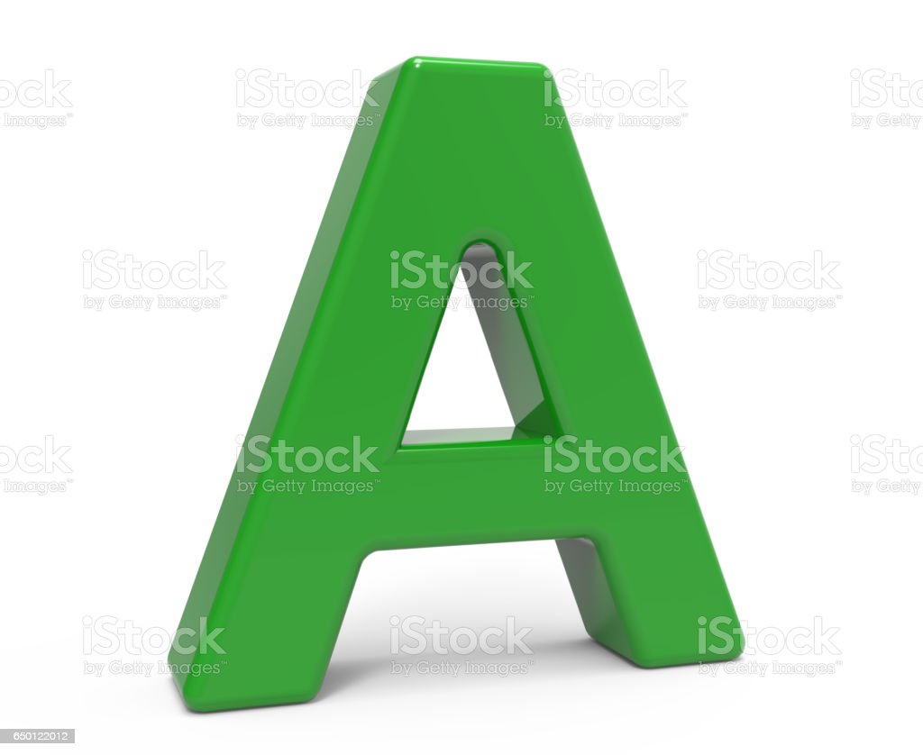 3D yeşil harf A stok fotoğrafı