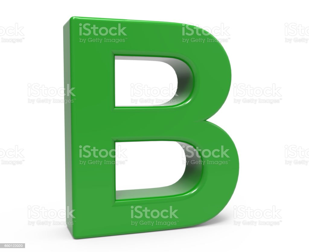 3d green letter B stock photo