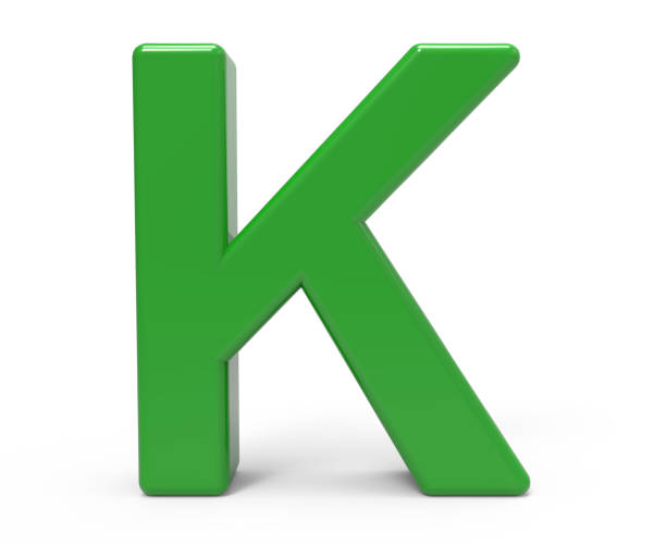3d green letter K 3d rendering green letter K isolated white background k icon stock pictures, royalty-free photos & images