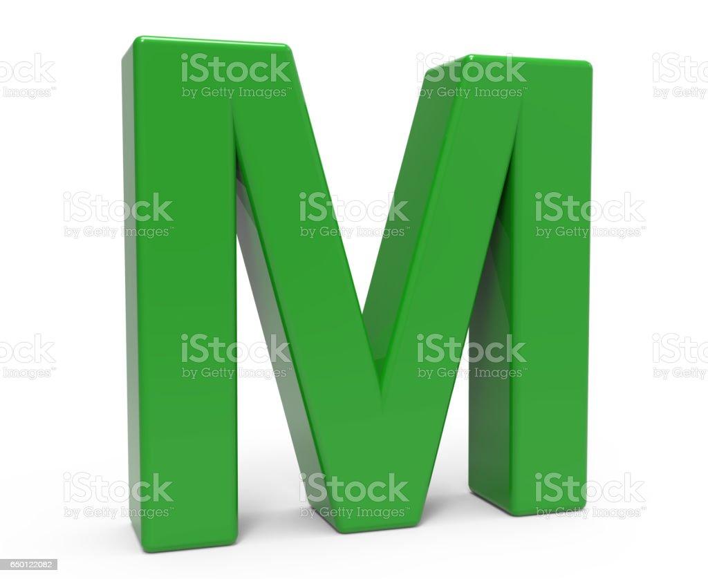 3 d grüner Buchstabe M  – Foto