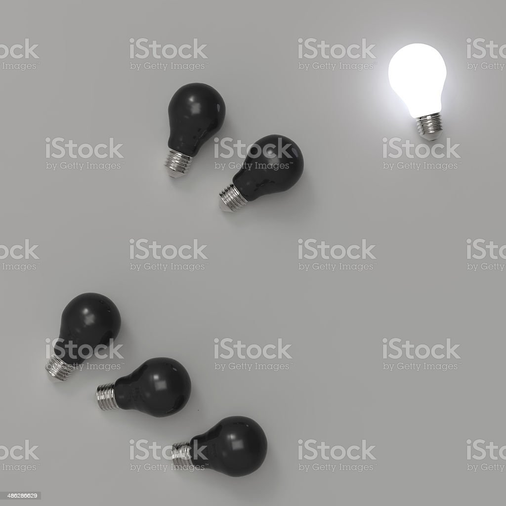 3d growing light bulb standing out royalty-free stock photo