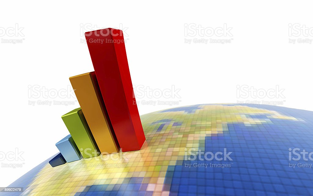 3d growth chart royalty-free stock photo