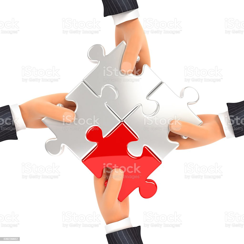 3d hands assembling jigsaw puzzles royalty-free stock photo