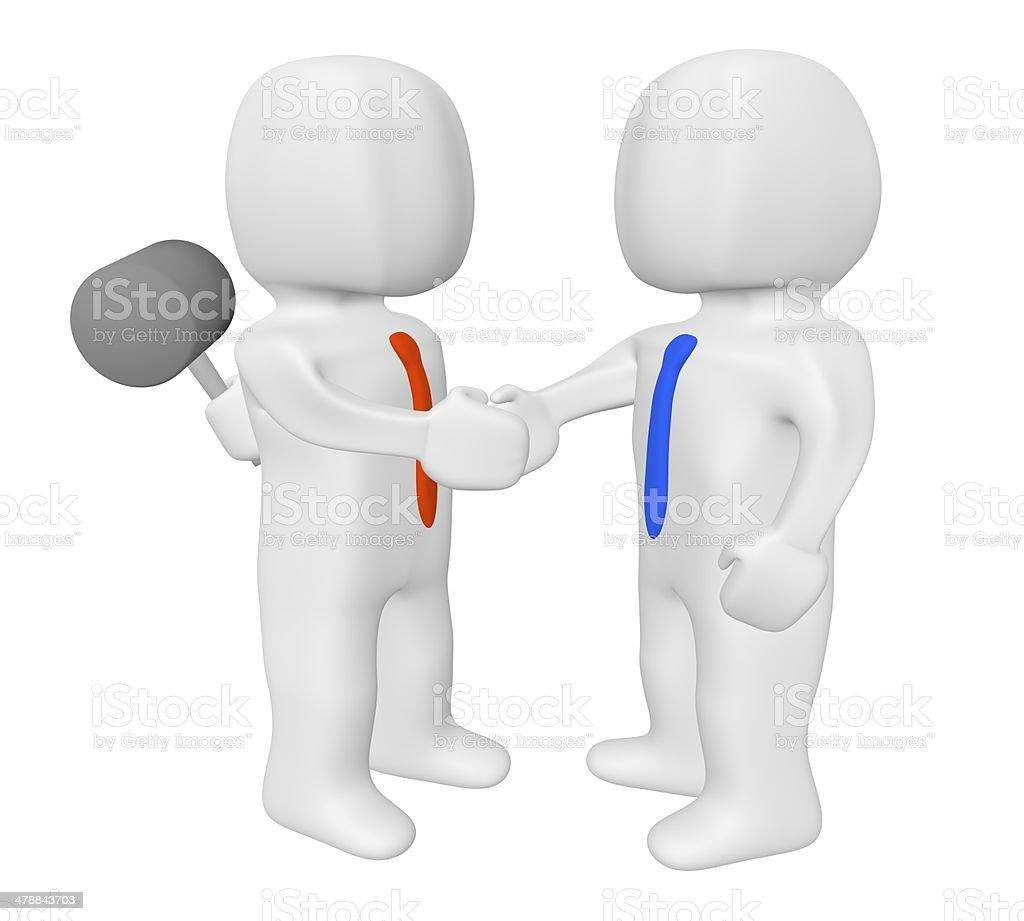 3d handshake dangerous stock photo