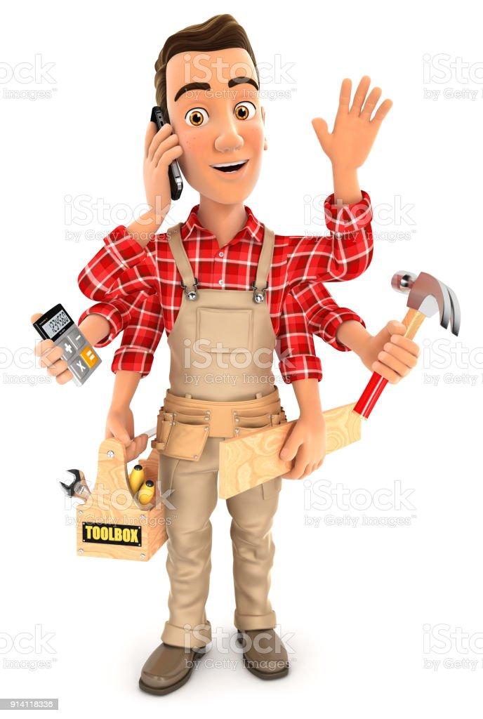 3d handyman multitasking stock photo