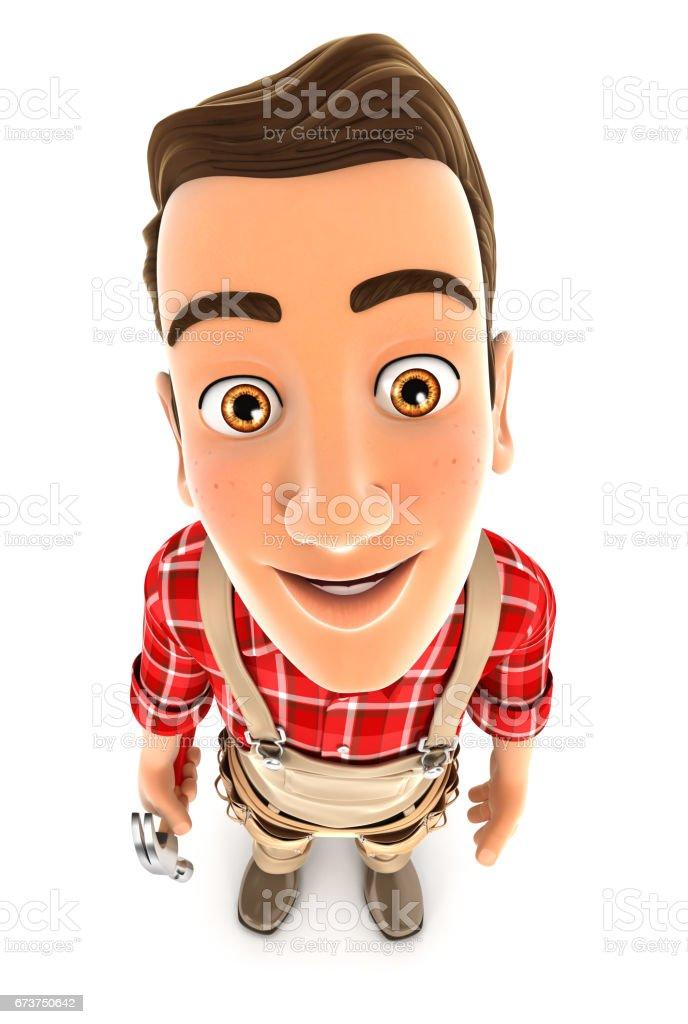3d handyman standing and looking up at camera royalty-free stock photo