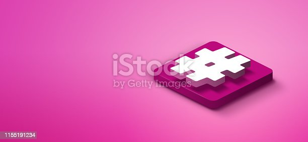 istock 3d hashtag icon on pink abstract background 1155191234