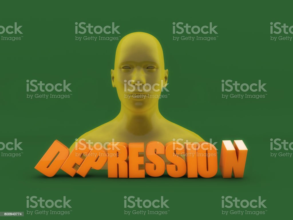3d head and depression text stock photo