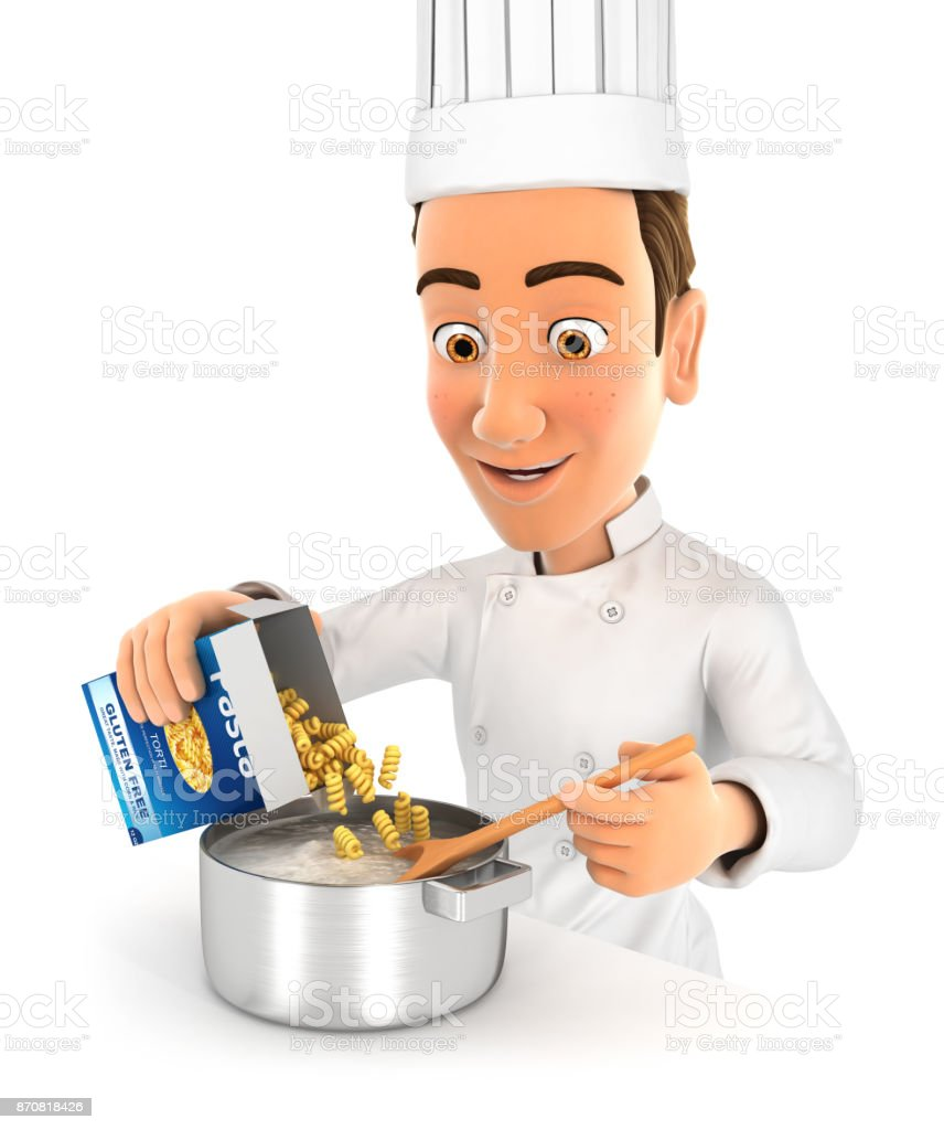 3d head chef cooking pasta stock photo