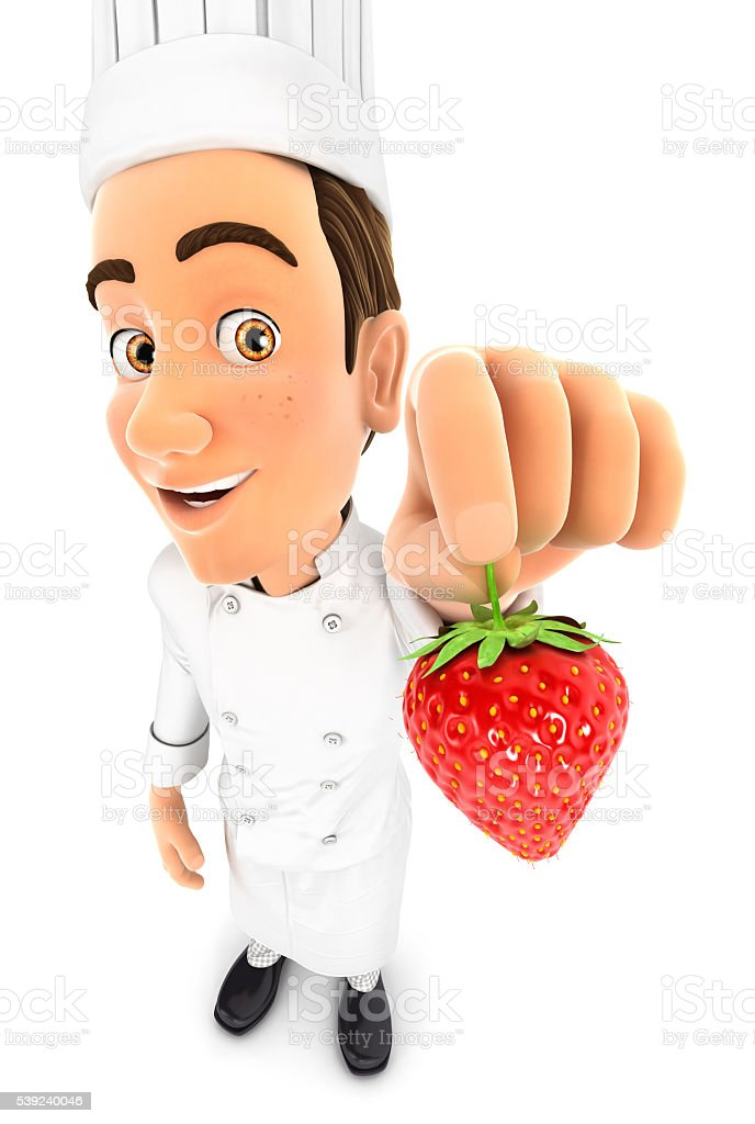 3d head chef holding a strawberry royalty-free stock photo