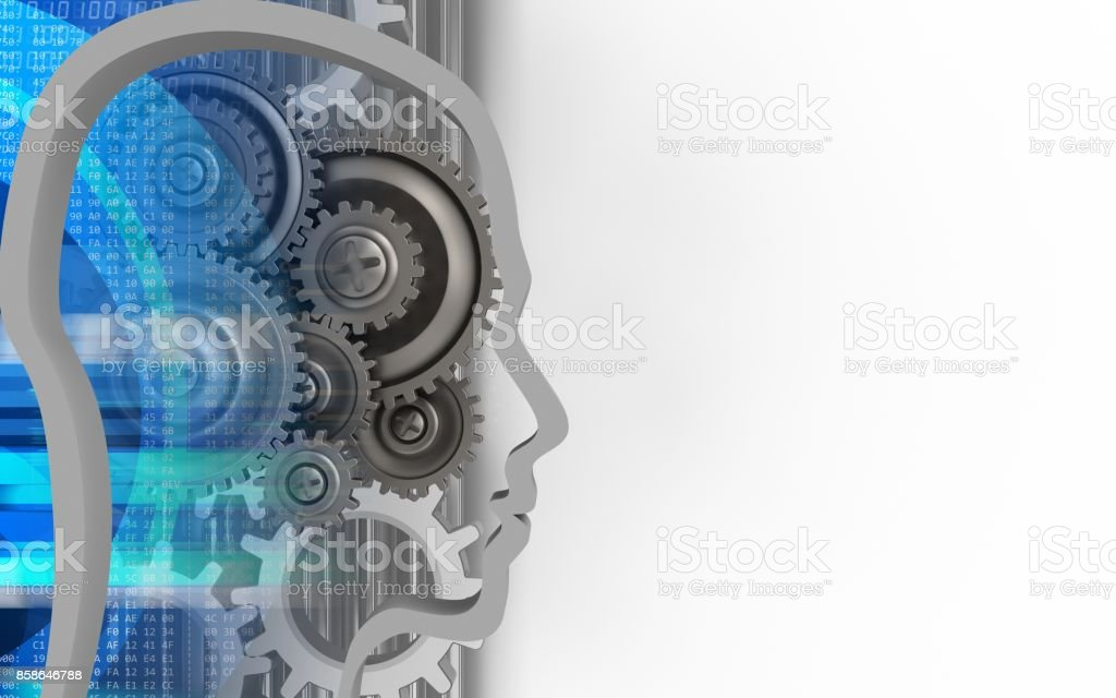 3d head contour stock photo
