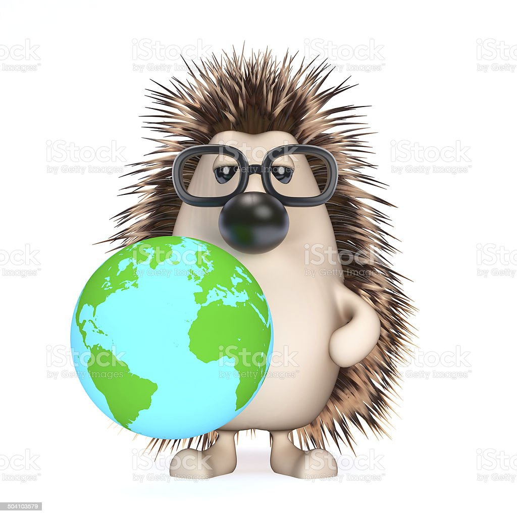 3d Hedgehog with a globe of the Earth stock photo