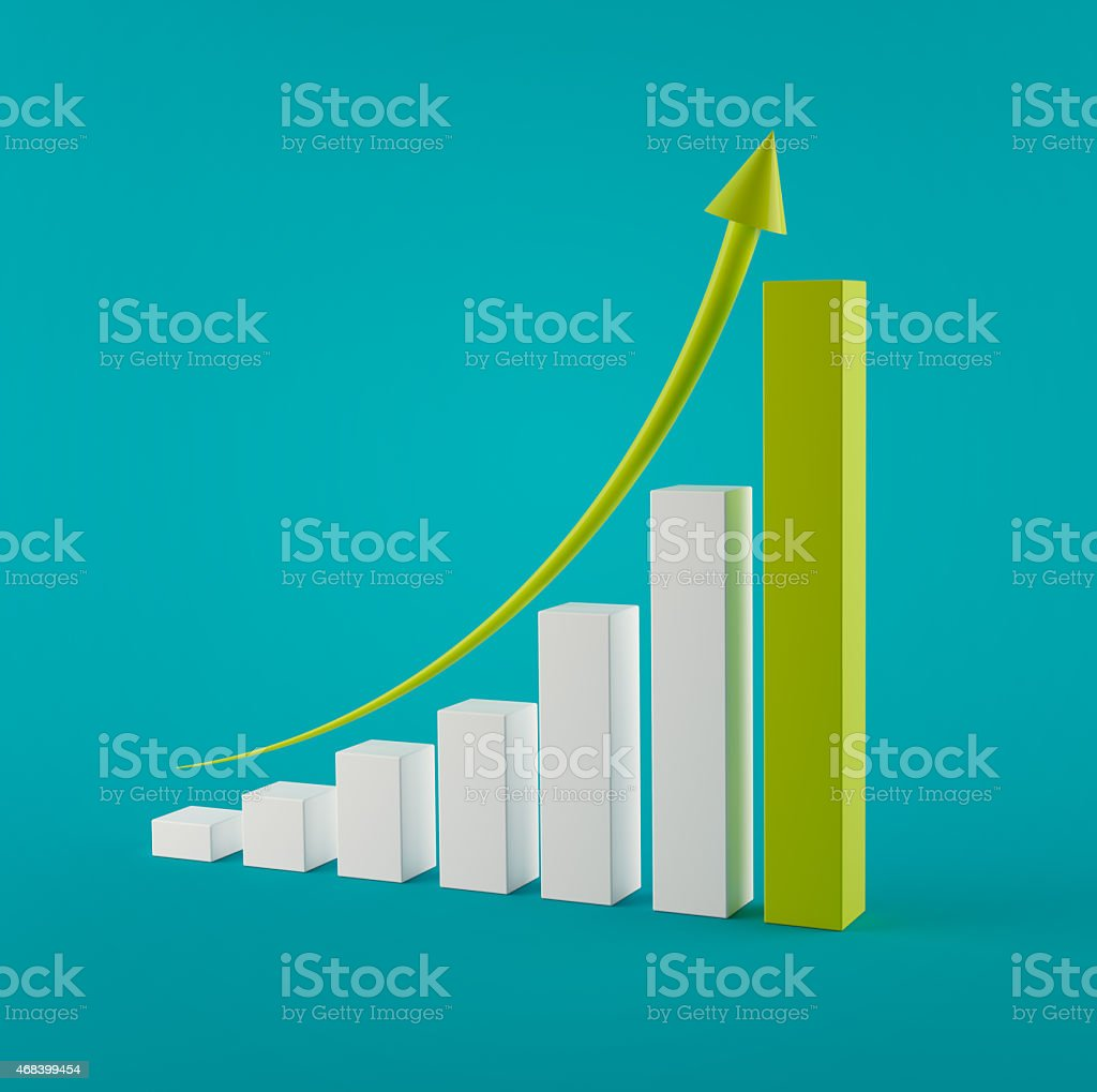 3d Height chart with green arrow in blue background stock photo