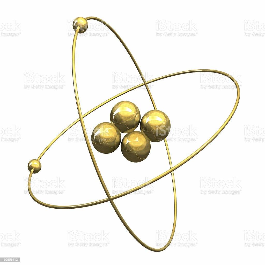 3d Helium Atom in gold royalty-free stock photo