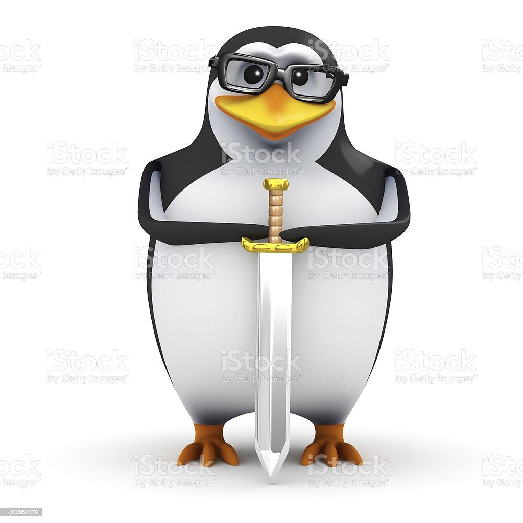 3d Heraldic penguin stock photo
