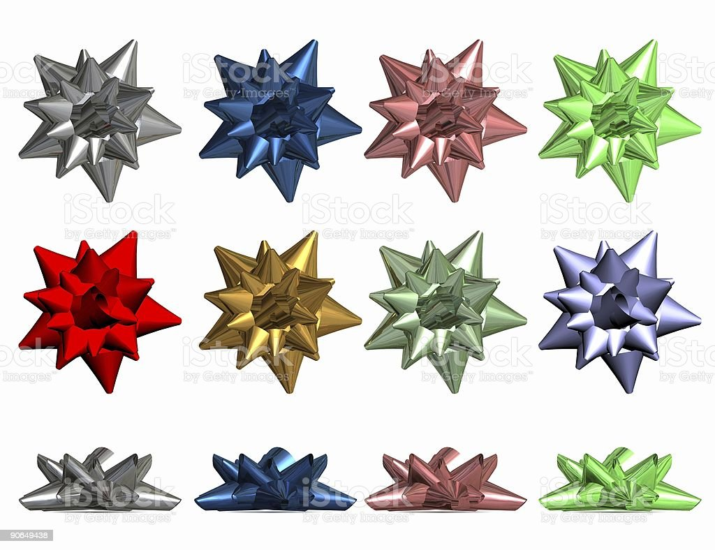 3d highres rendering of metallic holiday bows stock photo