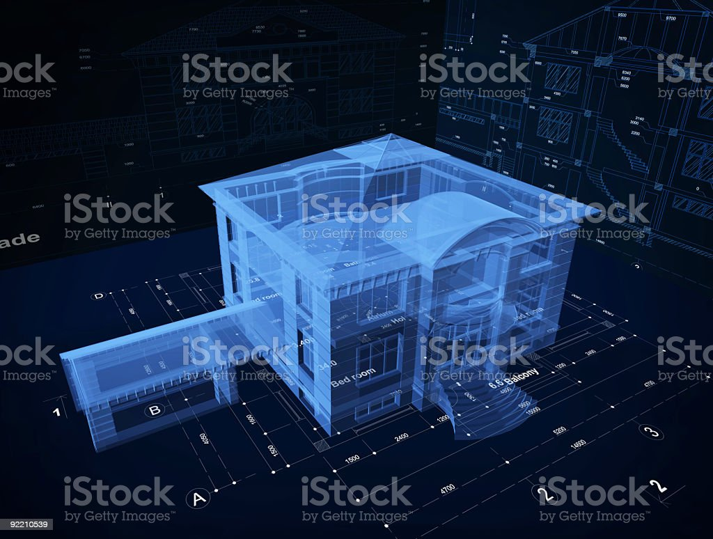 3d Hologram of a luxury  home over blueprints stock photo
