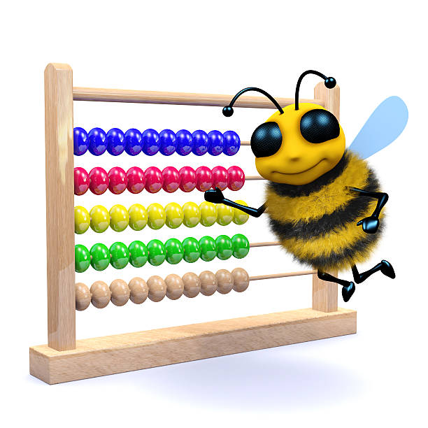 3d Honey bee counts on an abacus stock photo