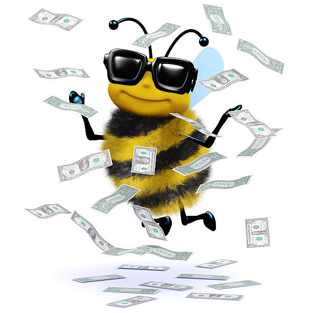 3d Honey bee has a windfall of cash stock photo