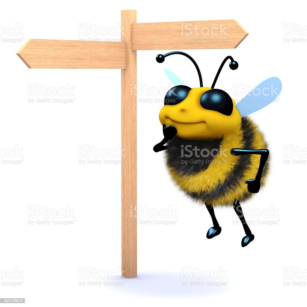 3d Honey bee looks at the roadsign stock photo