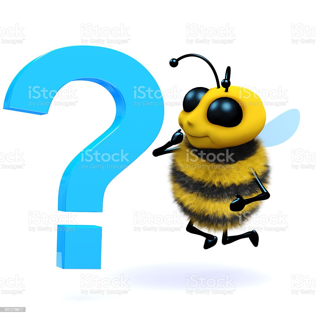 3d Honey bee question mark stock photo