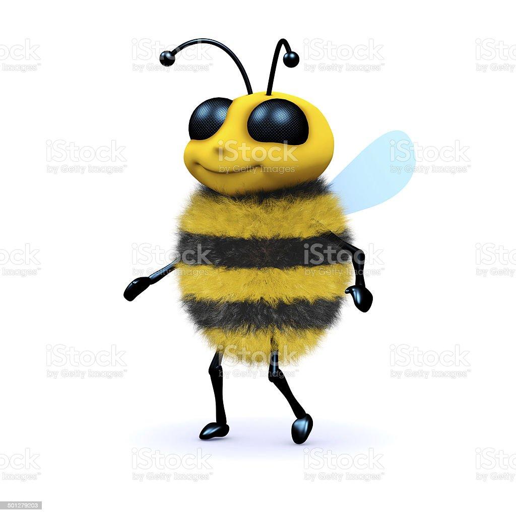 3d Honey bee walking stock photo