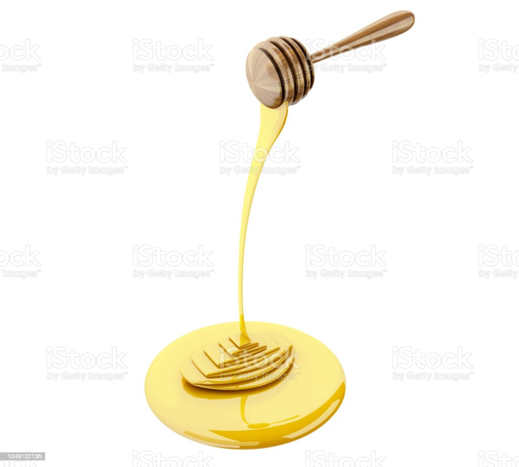 3d Honey stick with dripping honey stock photo