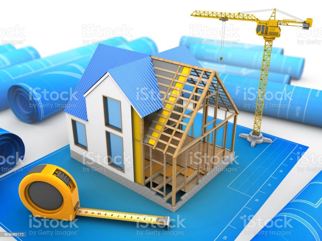 3d house construction stock photo