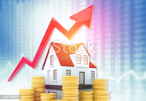 istock 3d house, gold coin with arrow graph 1261355277