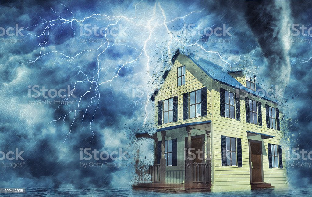 3d House in a storm stock photo
