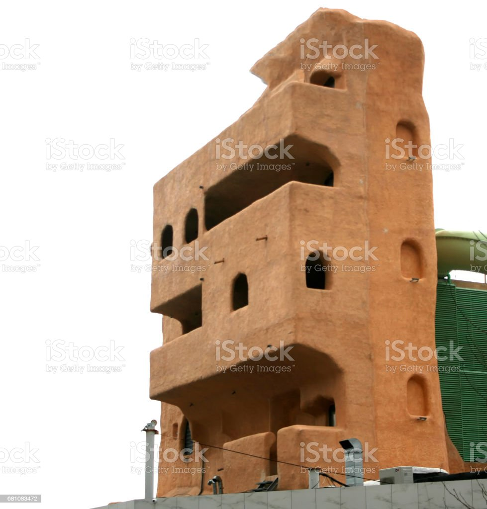 A 3-d house model of a multi-storey building made of ecologic materials. royalty-free stock photo