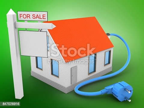 3d illustration of house red roof over green background with power cable and sale sign