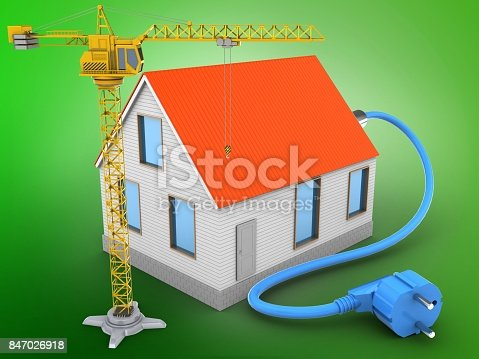 3d illustration of house red roof over green background with power cable and crane