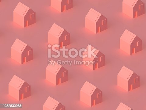 1129130396 istock photo 3d houses pattern background with pastel cream and pink colors. Geometrical shapes pink texture. 1082830968