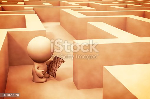 istock 3d human character exploring a maze structure using a map 601029270