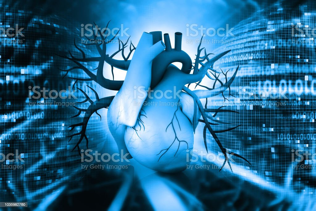 3d Human heart on abstract background stock photo