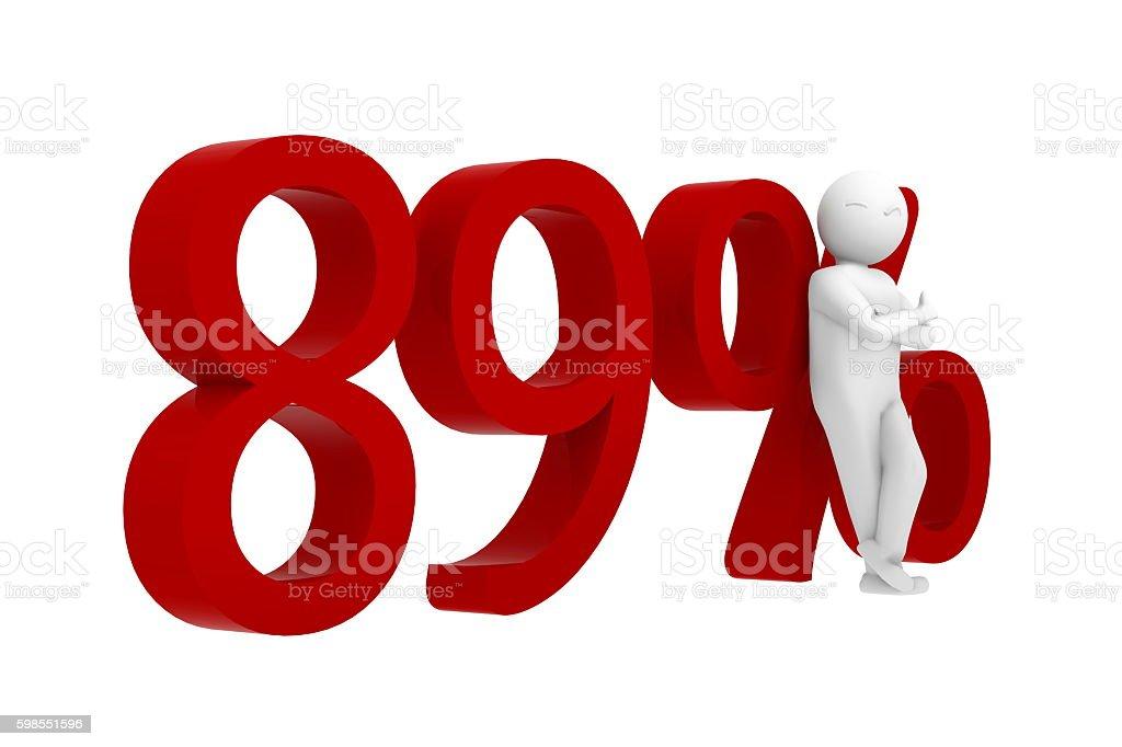 3d human leans against 89% ストックフォト