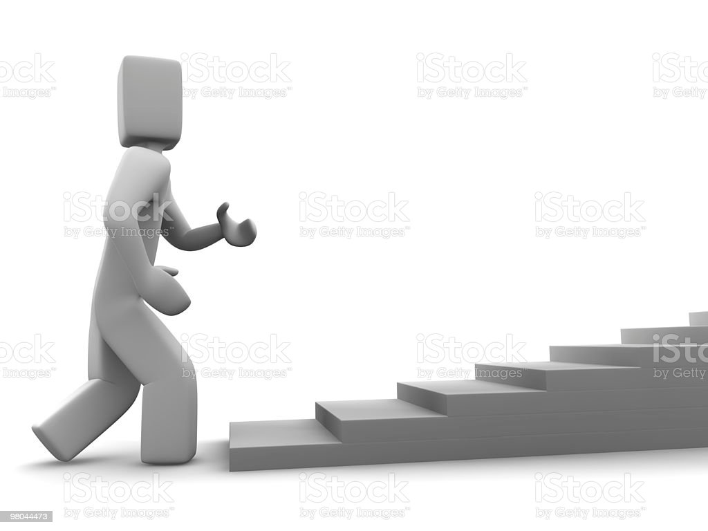 3d human moving upstairs royalty-free stock photo