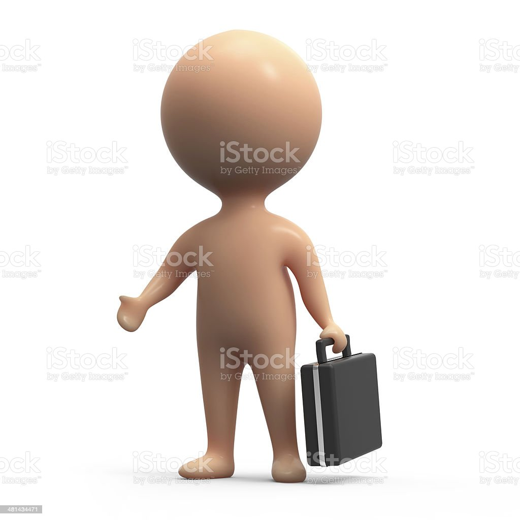 3d Human with briefcase stock photo
